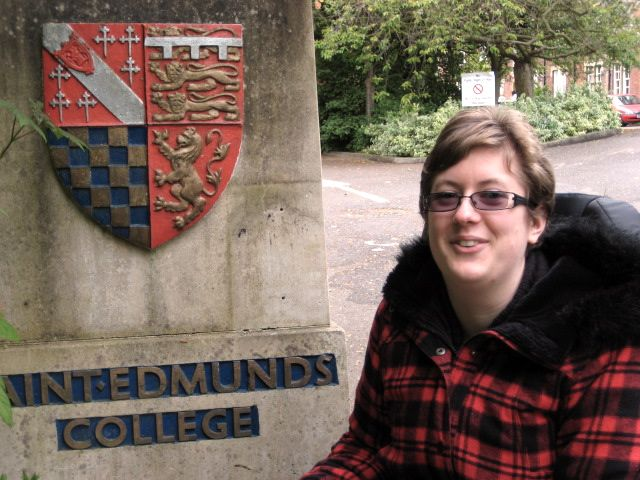 Esther outside her college