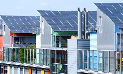 The solar sunship is in the solar village Vauban in Freiburg, Black Forest, Germany. Photo credit: Shutterstock
